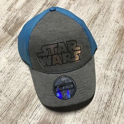 free shipping 8b504 a0cdc Disney Star Wars Blue Gray Kids Snapback Hat- Brand New
