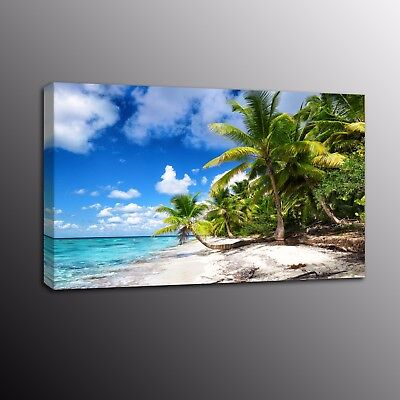 Modern Canvas Print Painting Wall Art Coconut Palm Tree Blue Sky Ocean Picture