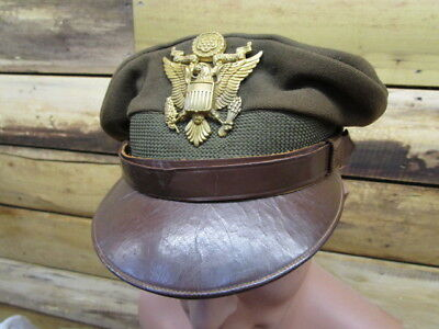 WWII US Army / AAF Officers Crusher Visor w/ BIG NS Meyer Eagle ~ GREAT LOOKER!!