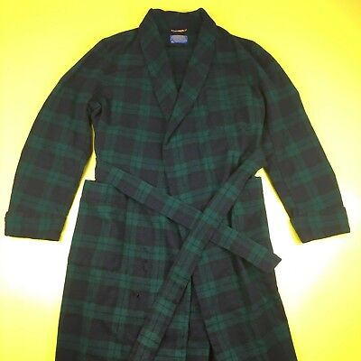 Vintage Pendleton Virgin Wool Green Plaid Mens Medium Robe Tie Rope