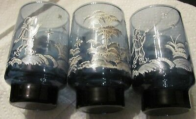 Lot,VTG-3Libbey,Mary Gregory,Blue w/ Raised White Scene, Glass Tumblers1960s