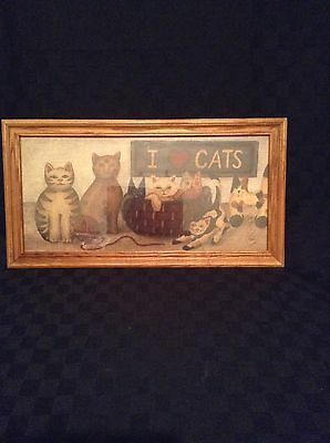 I Love Cats Hanging Wall Picture Decor Brown  Kitty Animal Color Plaque