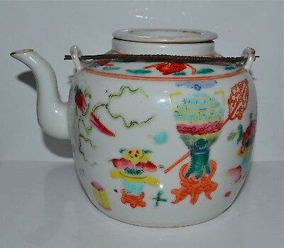 Antique Chinese Famille Rose Porcelain Teapot 19th C Scholar's Objects Mark