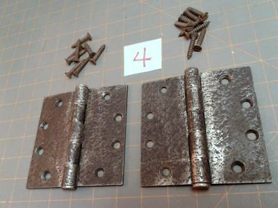 Pair Acorn Butt Hinges Warwick Style Faux Hammered Iron Finish w Screws No. 4