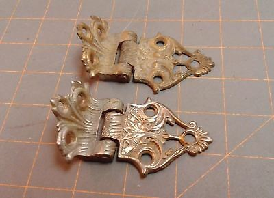 Pair Ice Box Door Hinges Cast Brass Circa 1890 Victorian Antique