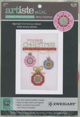 """Artiste Mini Counted Cross-Stitch Card /"""" MERRY CHRISTMAS /"""""""