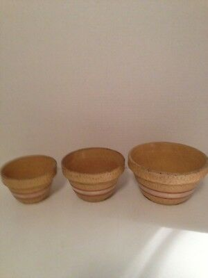 Robinson Ransbottom 391/Roseville/3 Pc. 5-6-7 Yellow Ware/Stoneware Pink Stripes