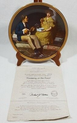 Norman Rockwell Pondering on the Porch Collector Plate #15914 E Edwin Knowles