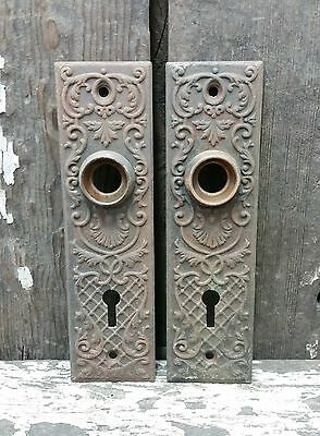 2 VTG Old Small SHABBY Metal FANCY Vine Trealis Keyhole Door Knob Backplate