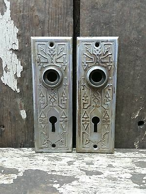 2 VTG Old Rustic Metal Fancy Hyroglifics EASTLAKE Keyhole Door Knob Backplate