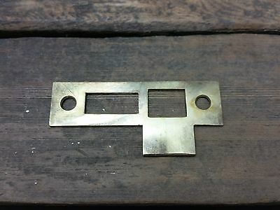 ONE Vtg Old Rustic Brass STRIKE Plate Mortise Door Lock Keeper Catch Heavy Duty