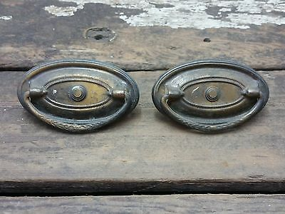 2 VTG Old Antique FANCY Metal SHABBY Pull Handle Drawer Chest Desk Clock