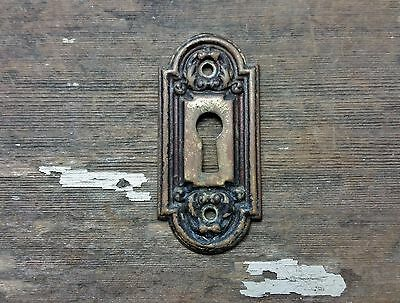 VTG Antique Old FANCY Rustic Brass Keyhole Cover Backplate Door Desk Hardware