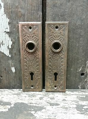2 VTG Old RUSTIC Fancy Metal EASTLAKE Keyhole Door Knob Backplate Cover -