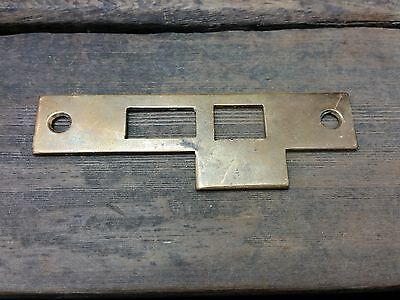VTG Old Rustic BRASS STRIKE Plate Mortise Door Lock Keeper Catch Heavy Duty