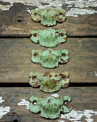 5 Vtg FANCY Cast Iron SHABBY Old Painted Harp Flower Bin Pull Handle 3 1/8""