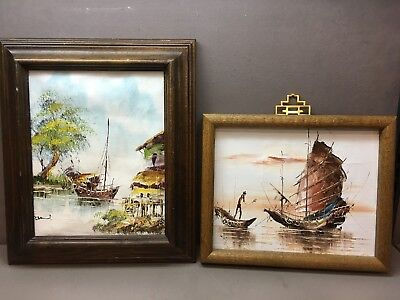 Pair of Asian Style Oil Paintings of Chinese Junk Boats one Signed by David
