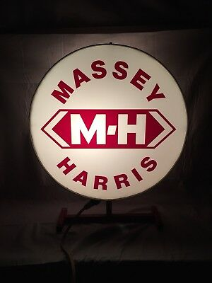 Vintage Double Sided Massey Harris Lighted Dealer Sign Agriculture Tractor