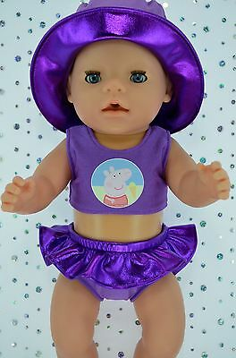 "Play n Wear Doll Clothes For 17"" Baby Born PURPLE SWIMMING BIKINI~SUN HAT"