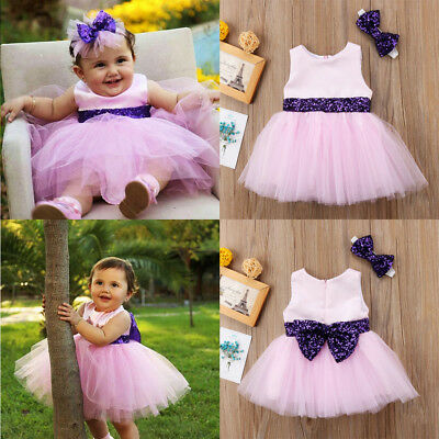 Summer Infant Kids Baby Girls Princess Bowknot Tunic Tulle Party Dress Sundress