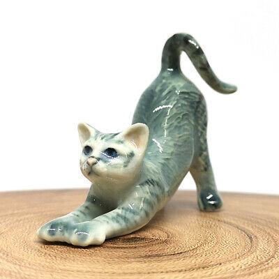 Porcelain Miniatures Collectible Ceramic Siam Cat FIGURINE Animals