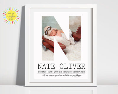 Nursery Baby Birth Print Personalised Photo Letter Unisex, Adventure, Any Letter