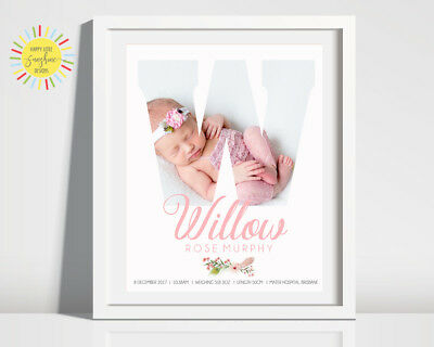 Nursery Baby Birth Print Photo Personalised Girl, Any Letter, Boho Floral Pink