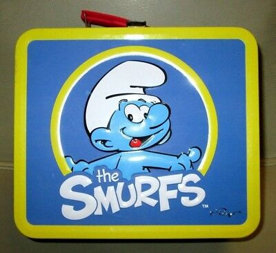 The Smurfs  Tin Metal Lunch Box Storage Container Lunchbox FREE SHIPPING