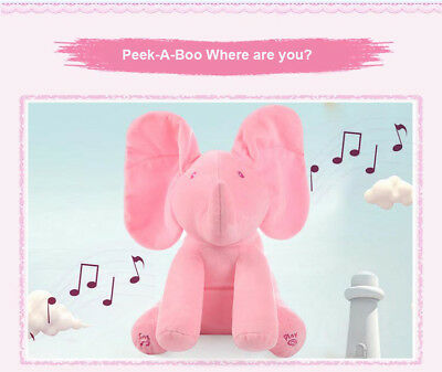 Pink Peek-a-boo Elephant Plush Toy Baby Singing Animated Stuffed Kids Doll Cute