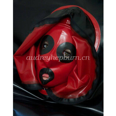 Latex Rubber Gummi Maske Fancy Dress Mysterious Double Zipper Head Size XXS-XXL