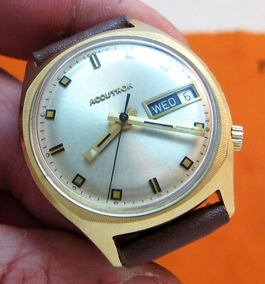 Serviced Vintage 2182 Accutron 14Kt. Gold Filled Tuning Fork Mens Watch N2