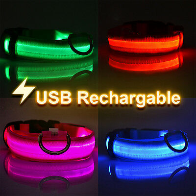 USB Rechargeable LED Dog Pet Collar UK Flashing Luminous Adjustable Safety Light