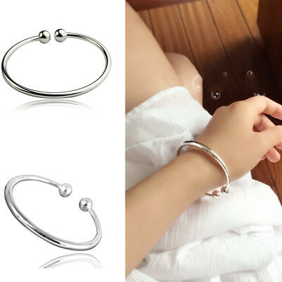 Fashion 925 Sterling Silver Bangle Bracelet Beads Ladies Jewellery Gift UK