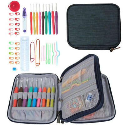 45Pcs Knitting Crochet Hooks Set Needle Yarn Organiser Case Kit Craft Tool Set