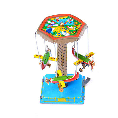Vintage Wind Up Toys Gift Fairground Carousel Airplane Planes Mechanical Tin3OQ