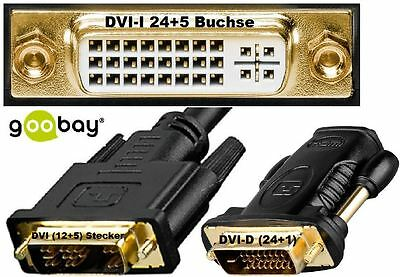 Adapter DVI I (24+5) 12+5 DVI D (24 +1) Mini DP VGA HDMI Socket Plug goobay