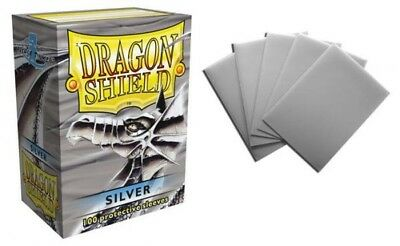 Dragon Shield - Silver 100 Protective Sleeves Cases Standard Card Holder