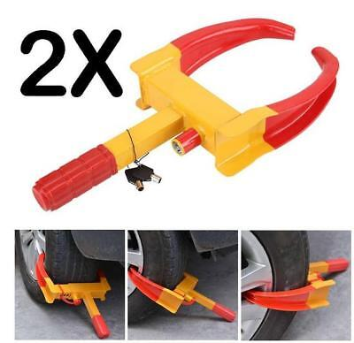 X2 Heavy Duty Wheel Clamp Anti-Theft Lock Caravan Trailer Security + 2 Keys Chn