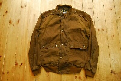 Men's Brown Barbour A62 Flyweight Wax Flyer Bomber Jacket Medium