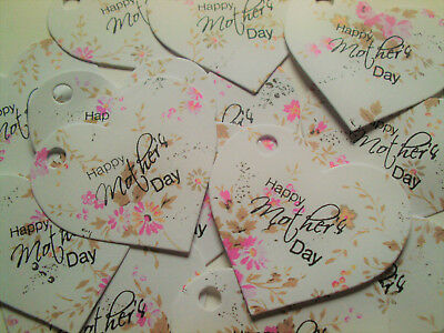 25 Vintage Style Small Pink Rose Heart Tags 'Happy Mother's Day' with Twine