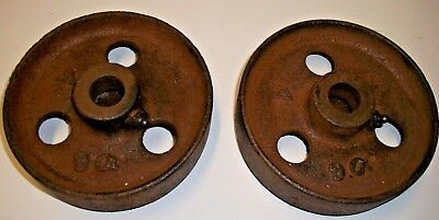 lot of 2 Antique Cast Iron Wheels Cart, hand truck  5 3/4'' steampunk
