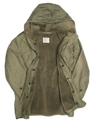 Vintage German Army Field Jacket L Large Green Fleece Lined Extreme Cold Weather