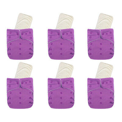 KaWaii Baby Unisex One Size Ultra Soft 6 Diapers w/6 Premium Bamboo Inserts Warm