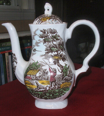 GORGEOUS Hand Decorated MYOTT Staffordshire THE HUNTER 6 Cup COFFEE POT with LID