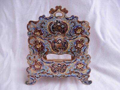 ANTIQUE FRENCH ENAMELED GILT BRONZE,PAPER OR LETTER HOLDER,LATE 19th CENTURY.