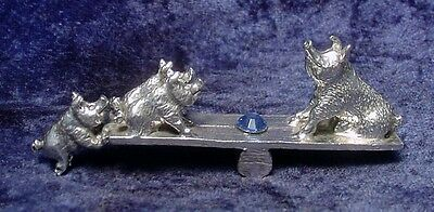 Pewter PIGS on See-Saw with BLUE Crystal Accent