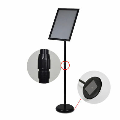 A3 A4 Pedestal Sign Holder Floor Stand Adjustable with Telescoping Post Black