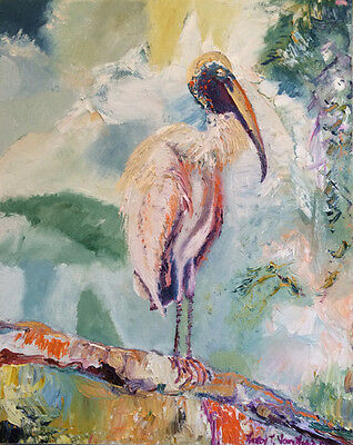 "Rare Wood Stork Bird on Branch 16""x20"" Limited Edition Oil Painting Print"