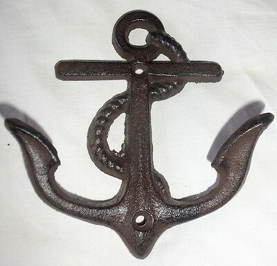 Fancy Large Anchor With Rope Nautical Cast Iron Coat / Towel Double Hook Decorat