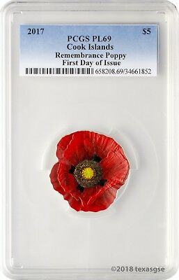 2017 $5 Cook Islands Remembrance Poppy .999 Silver Coin PCGS PL69 First Day